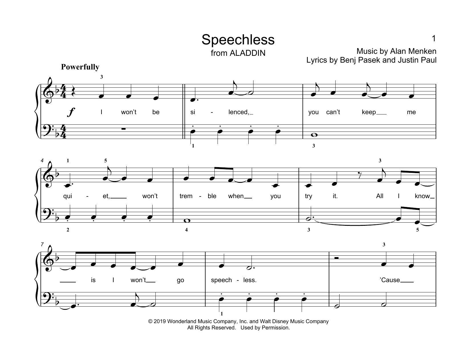 Alan Menken Speechless (from Aladdin) (arr. Christopher Hussey) sheet music notes printable PDF score
