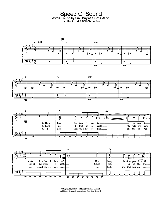 Coldplay Speed Of Sound sheet music notes printable PDF score