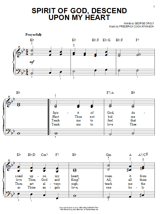 George Croly Spirit Of God, Descend Upon My Heart sheet music notes printable PDF score