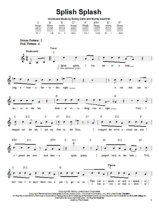 Bobby Darin Splish Splash sheet music notes printable PDF score