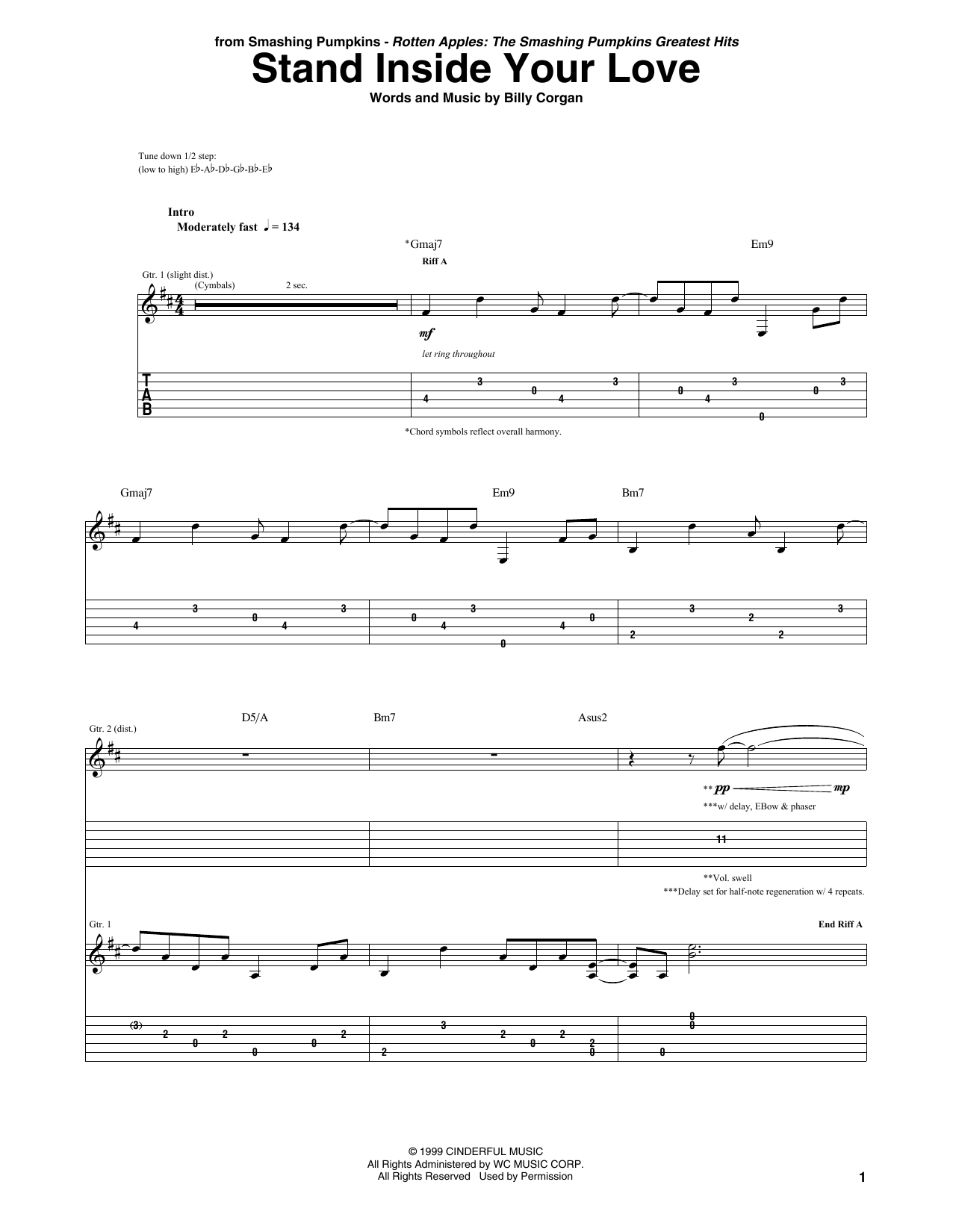 The Smashing Pumpkins Stand Inside Your Love sheet music notes printable PDF score