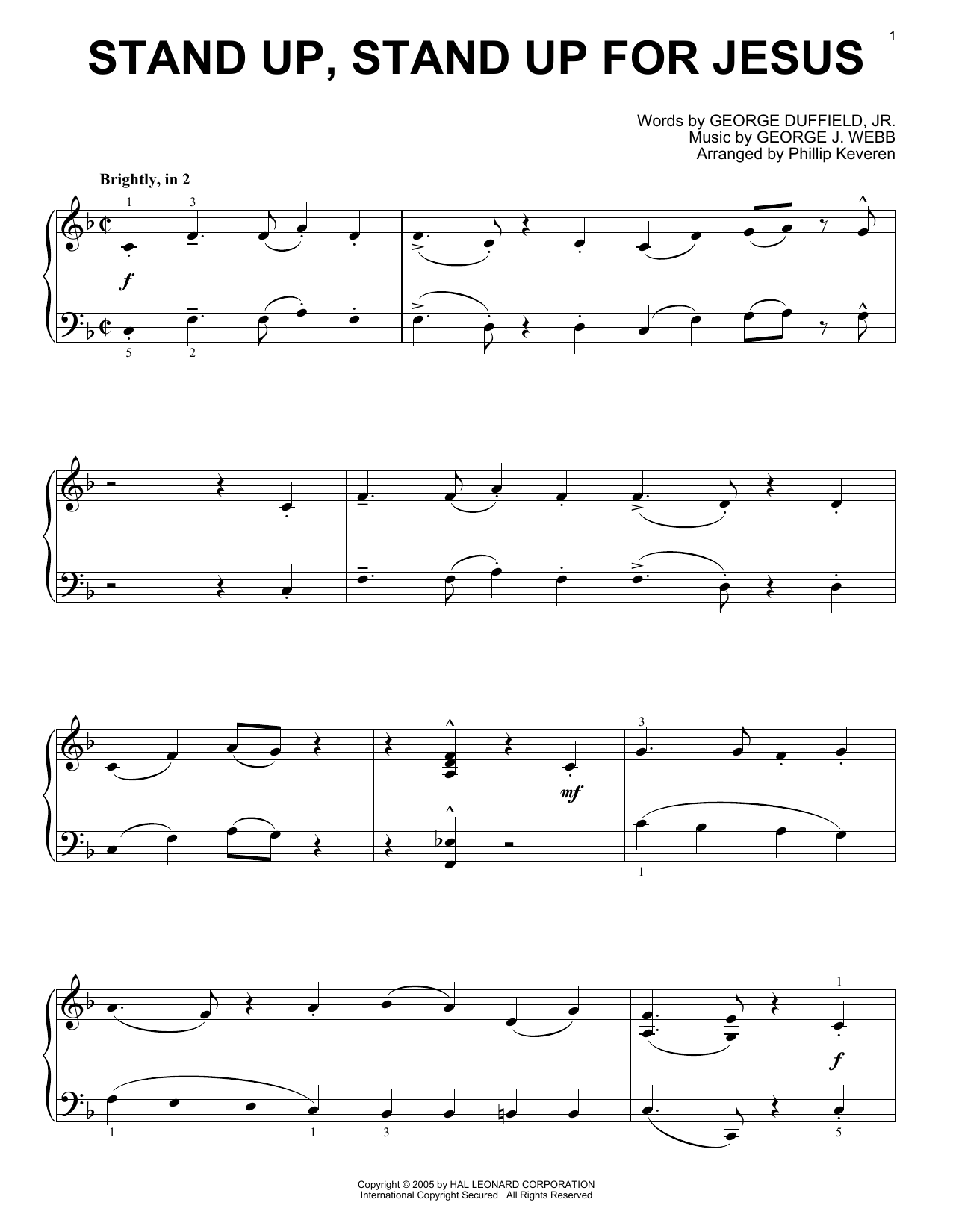 George J. Webb Stand Up, Stand Up For Jesus [Jazz version] (arr. Phillip Keveren) sheet music notes printable PDF score