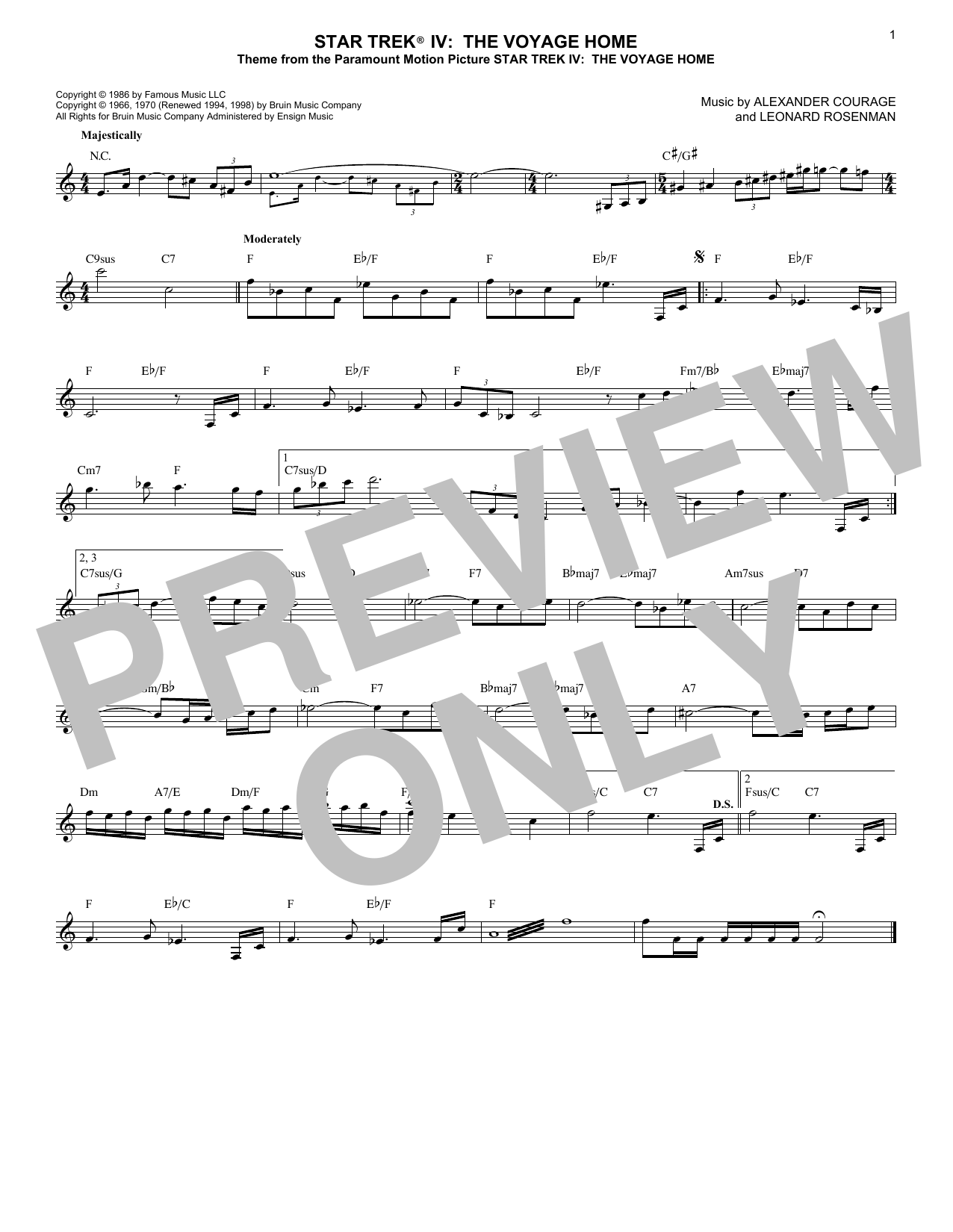 Alexander Courage Star Trek(R) IV - The Voyage Home sheet music notes printable PDF score