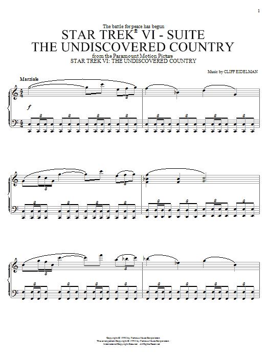 Cliff Eidelman Star Trek(R) VI - The Undiscovered Country sheet music notes printable PDF score