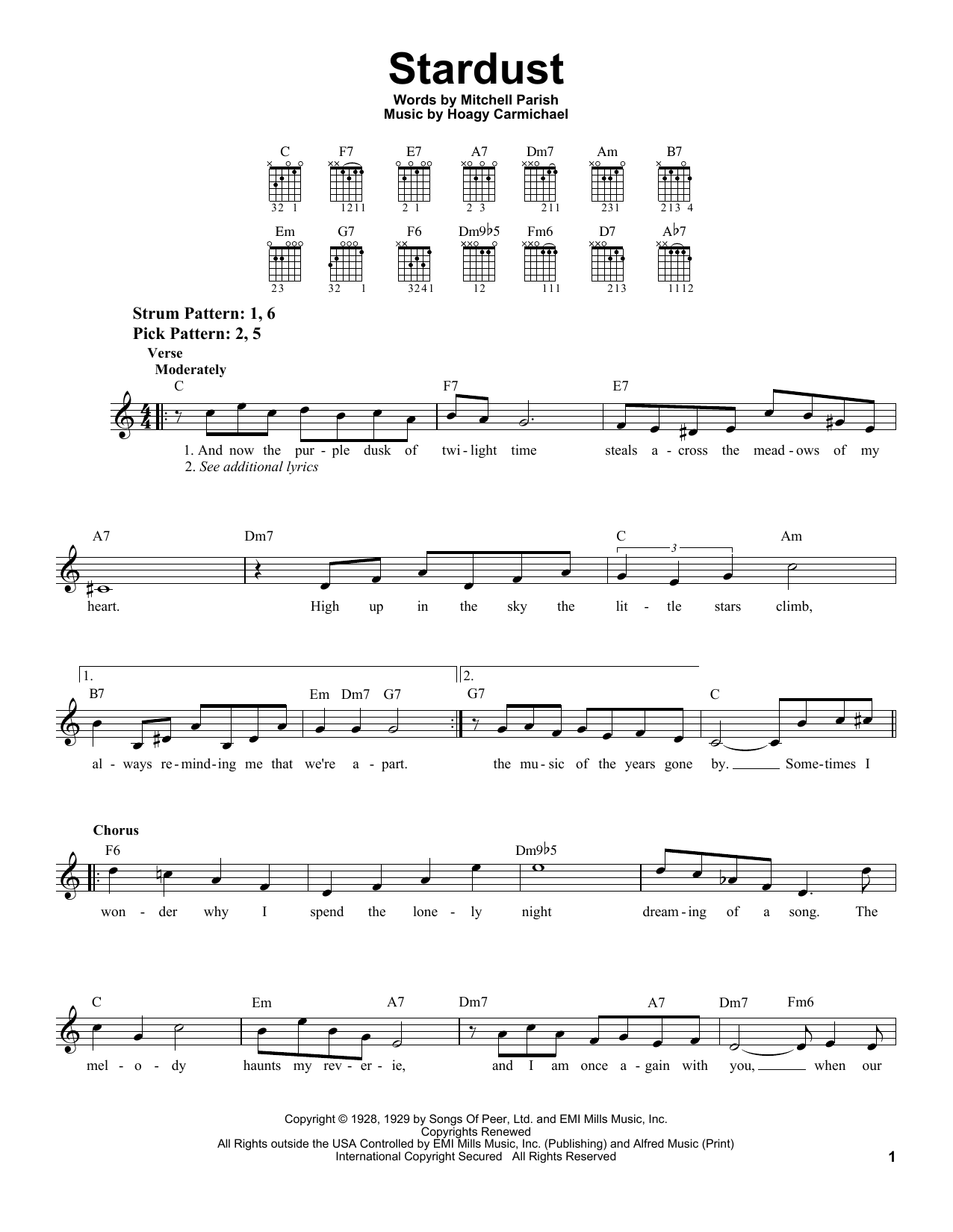 Hoagy Carmichael Stardust sheet music notes printable PDF score