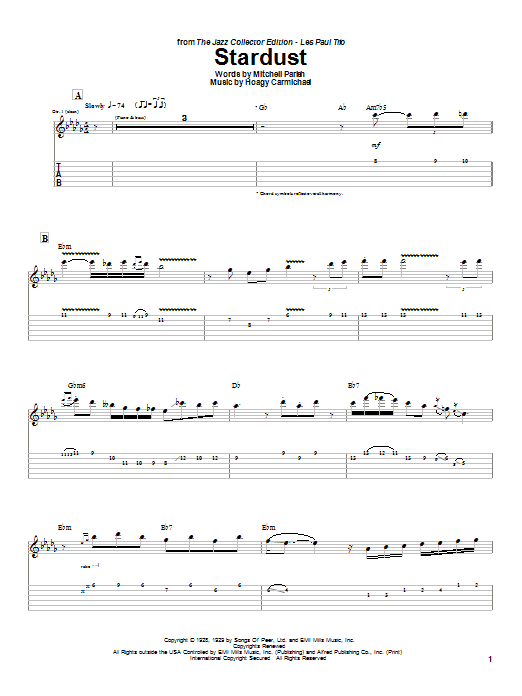 Les Paul Stardust sheet music notes printable PDF score