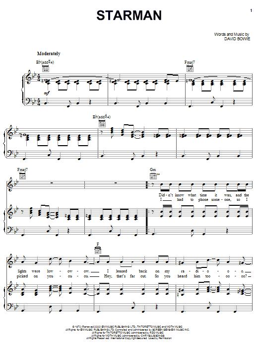 David Bowie Starman sheet music notes printable PDF score
