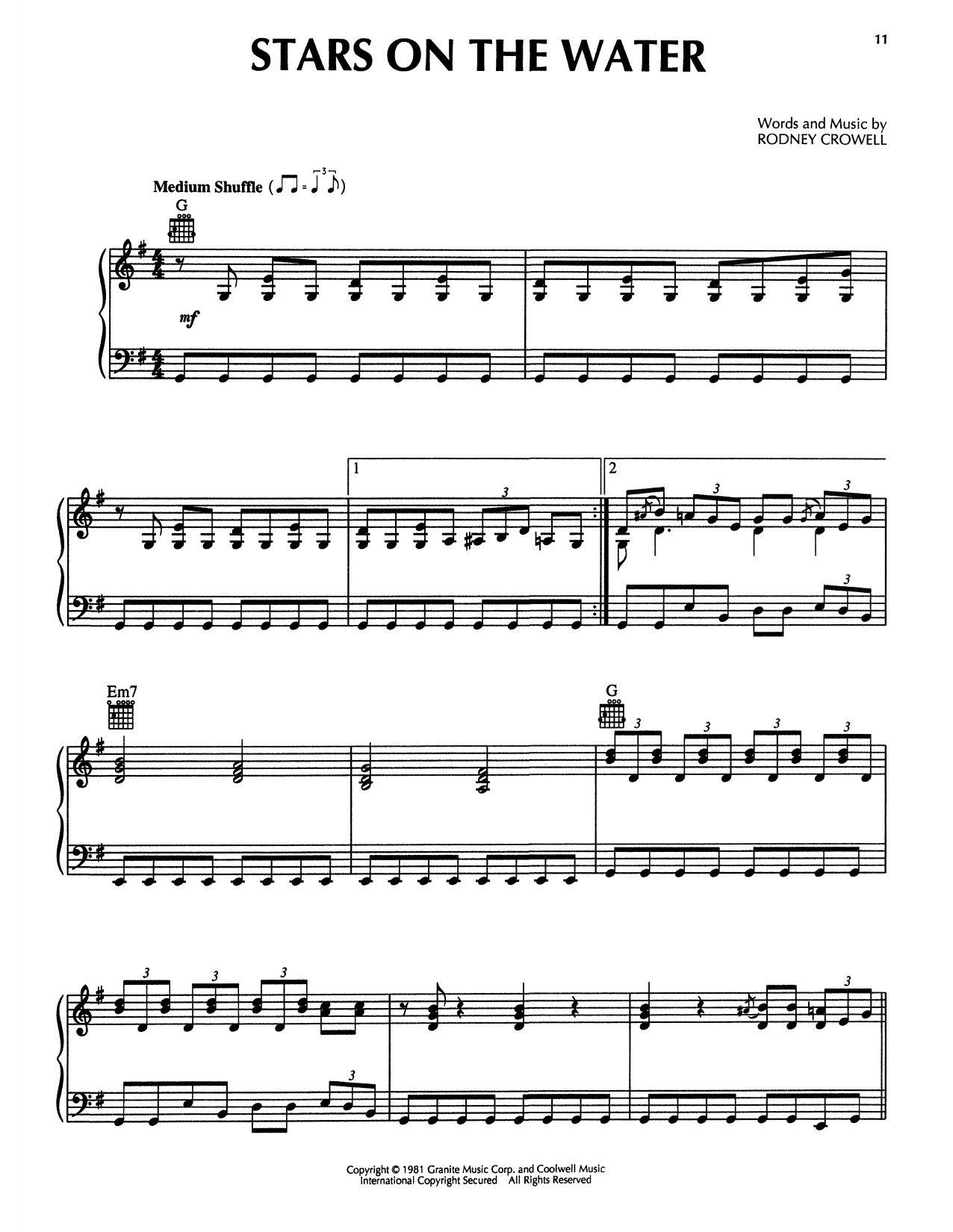 Rodney Crowell Stars On The Water (from The Firm) sheet music notes printable PDF score