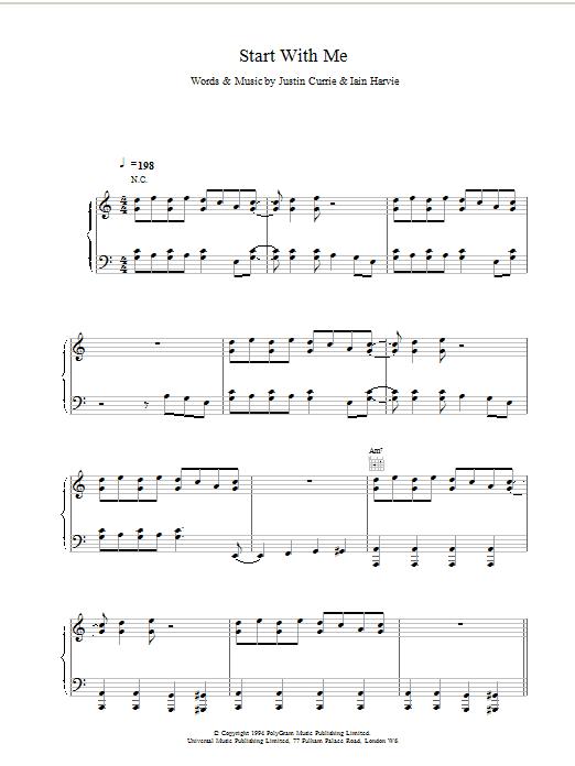 Del Amitri Start With Me sheet music notes printable PDF score