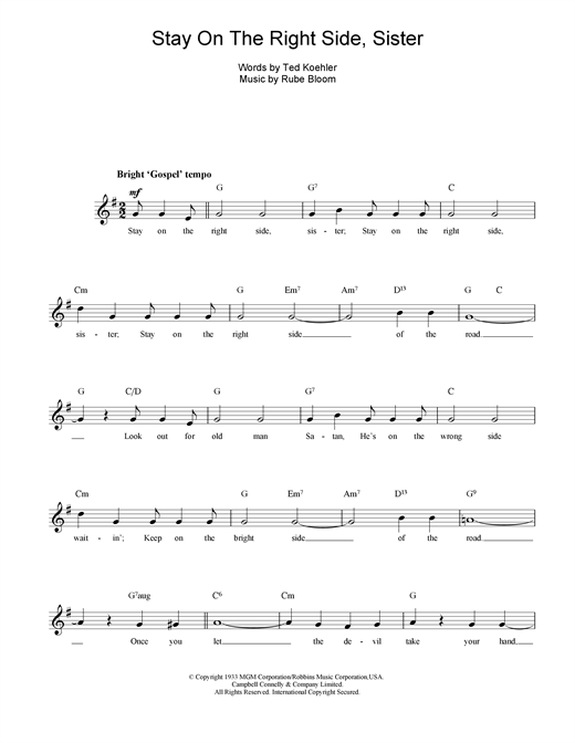 Rube Bloom Stay On The Right Side Sister sheet music notes printable PDF score