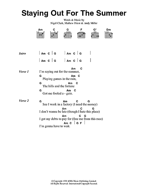Dodgy Staying Out For The Summer sheet music notes printable PDF score