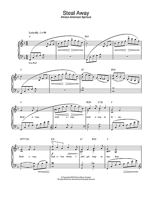 African-American Spiritual Steal Away sheet music notes printable PDF score