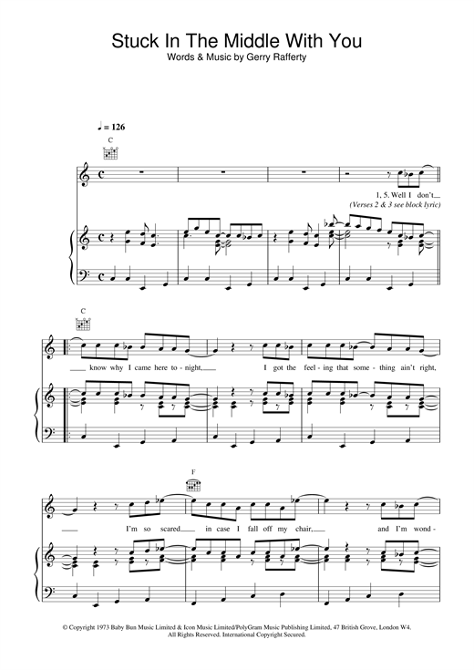 Stealers Wheel Stuck In The Middle With You sheet music notes and chords. Download Printable PDF.
