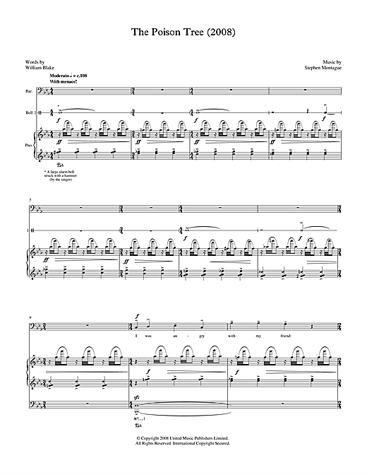 Stephen Montague The Poison Tree (for baritone, piano & bell) sheet music notes printable PDF score