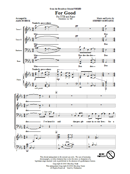 Stephen Schwartz For Good (from Wicked) (arr. Alex Rybeck) sheet music notes and chords. Download Printable PDF.