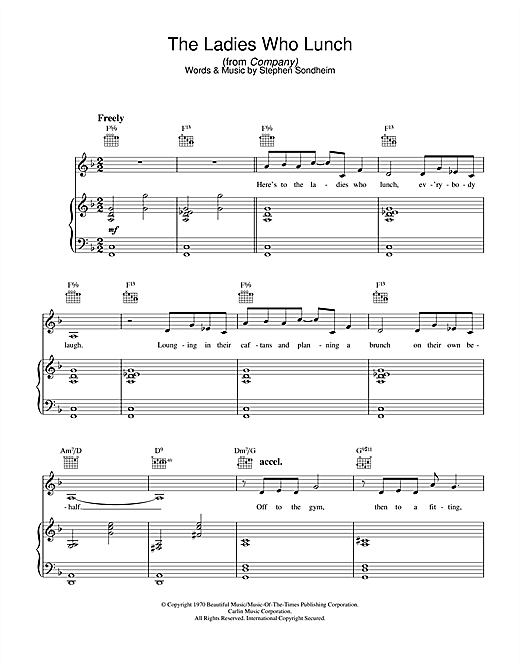 Stephen Sondheim The Ladies Who Lunch (from Company) sheet music notes and chords. Download Printable PDF.