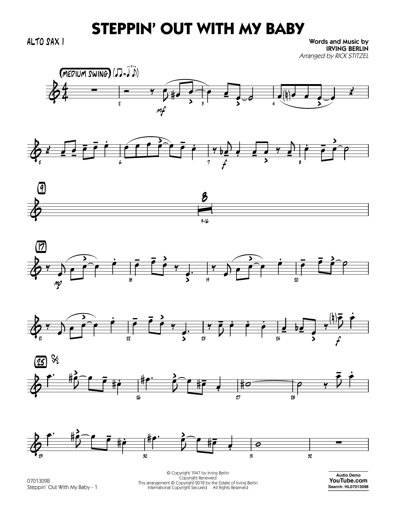 Rick Stitzel Steppin' Out with My Baby - Alto Sax 1 sheet music notes printable PDF score