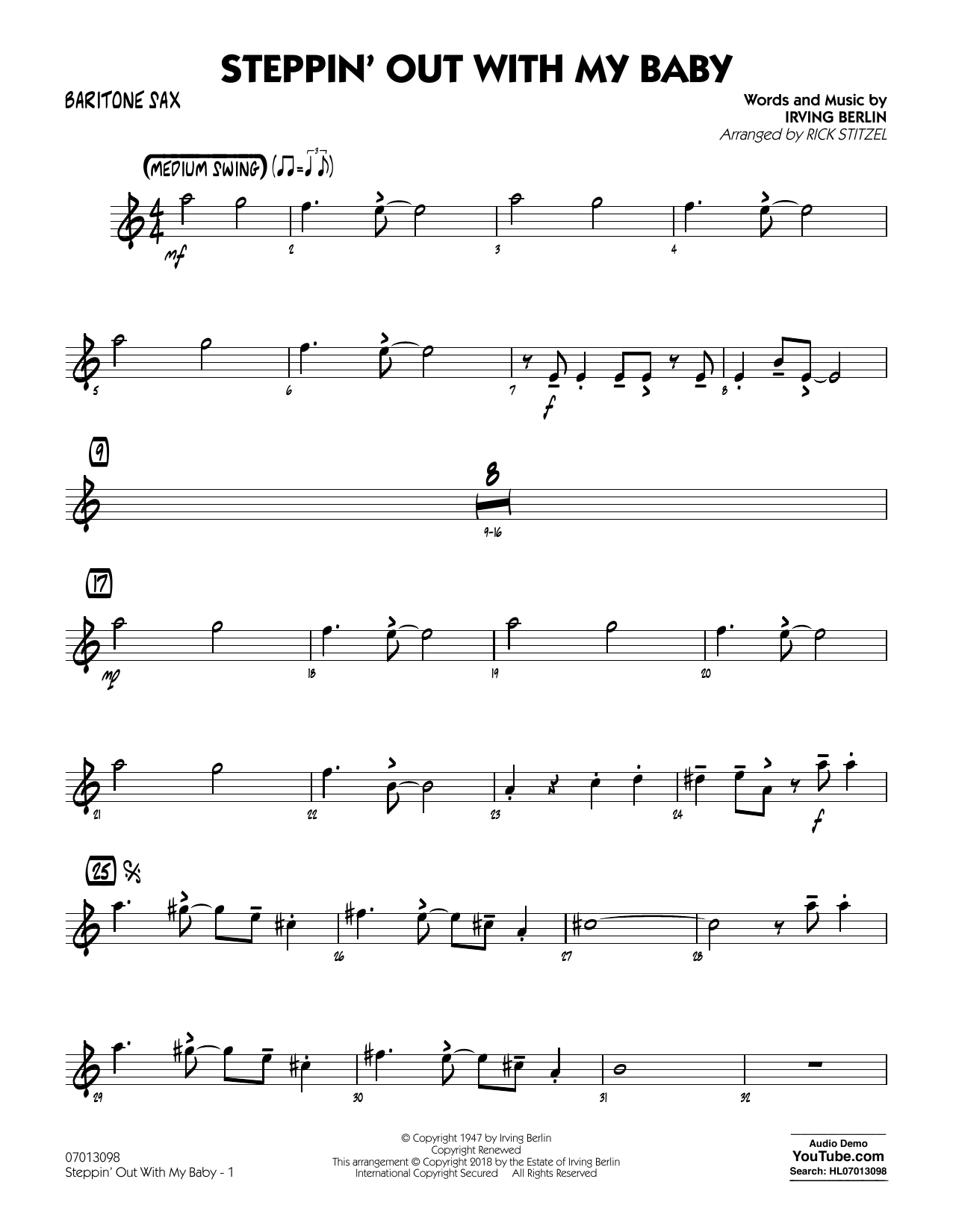 Rick Stitzel Steppin' Out with My Baby - Baritone Sax sheet music notes printable PDF score