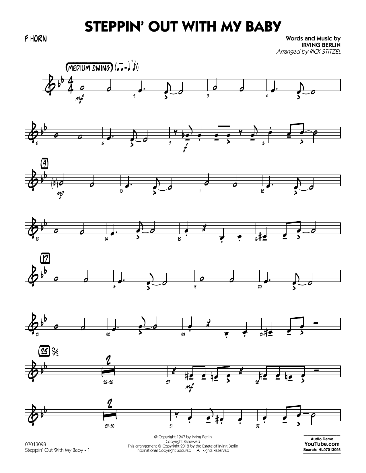 Rick Stitzel Steppin' Out with My Baby - F Horn sheet music notes printable PDF score