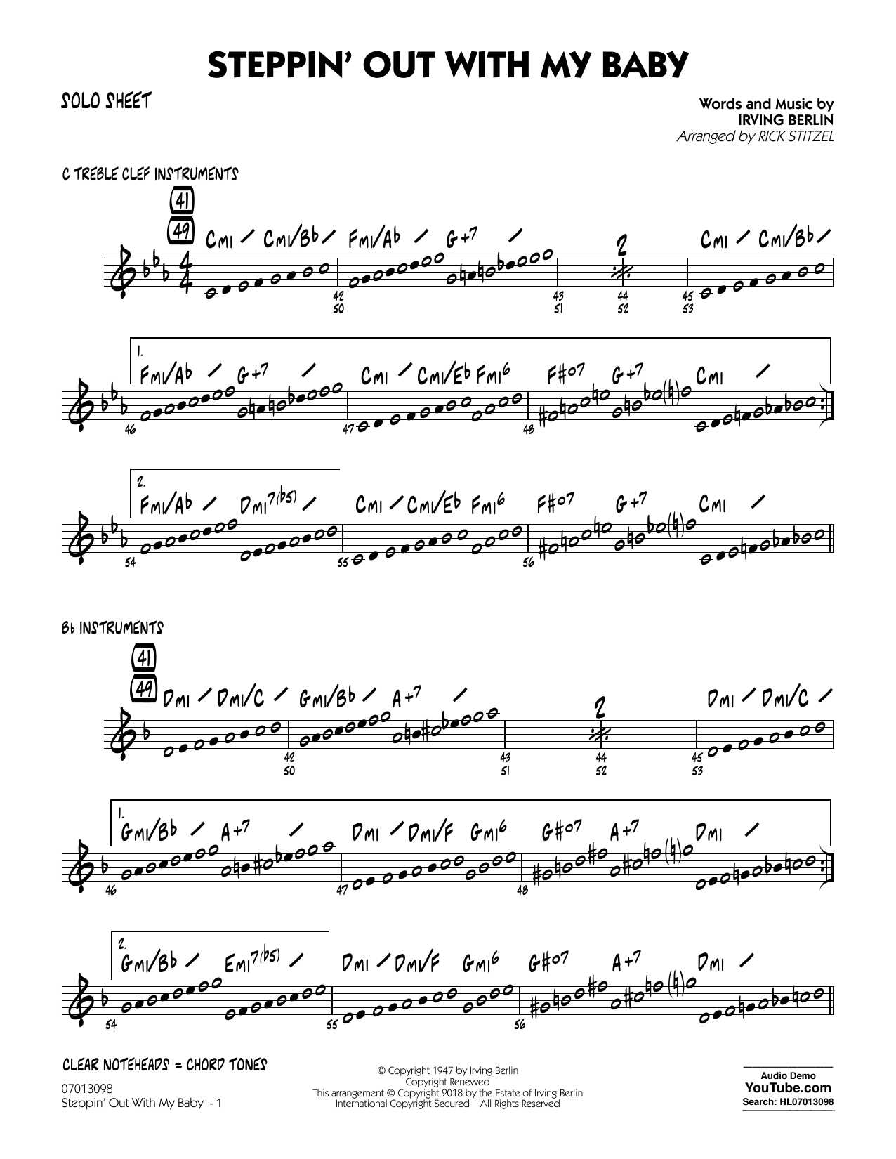 Rick Stitzel Steppin' Out with My Baby - Solo Sheet sheet music notes printable PDF score