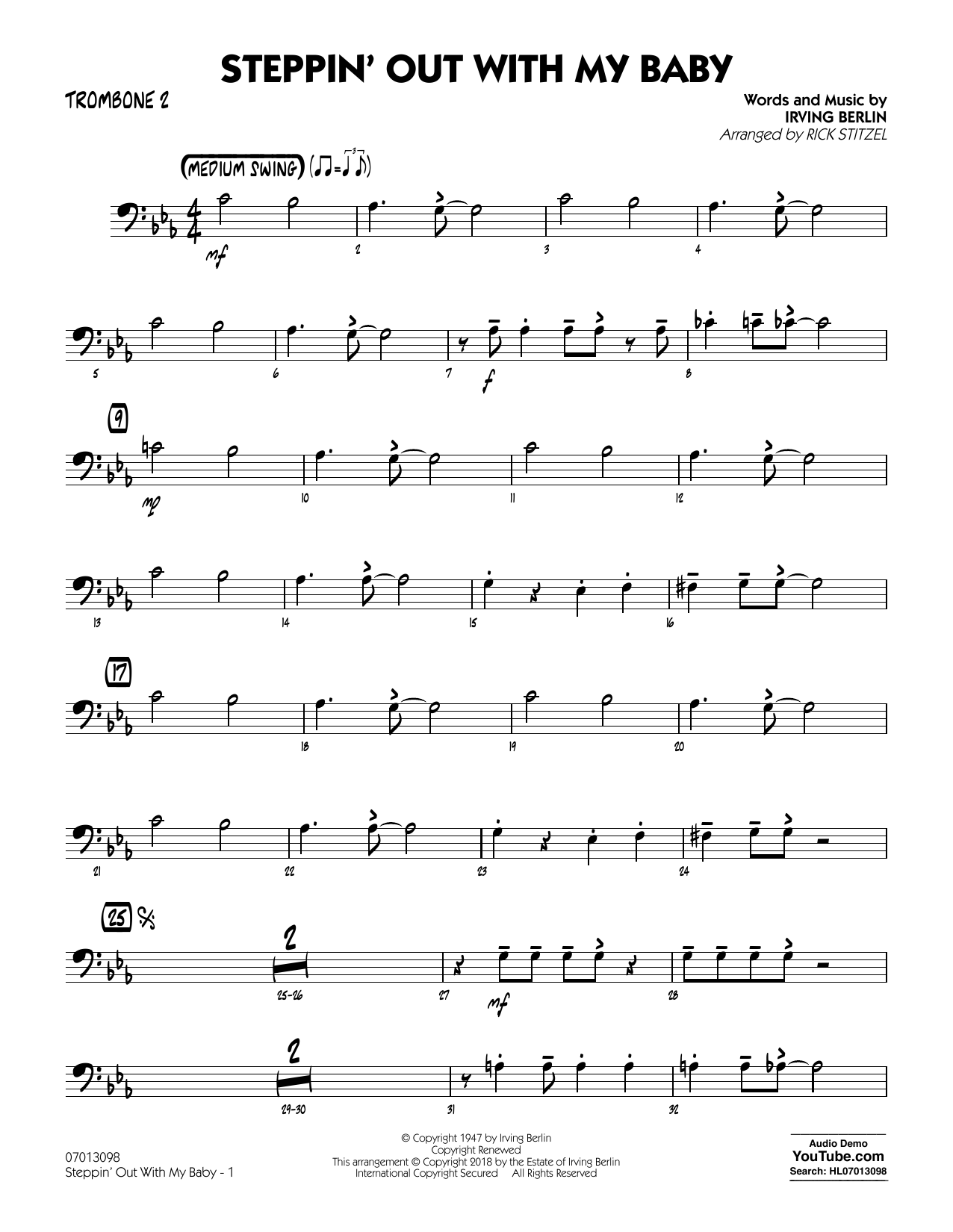 Rick Stitzel Steppin' Out with My Baby - Trombone 2 sheet music notes printable PDF score