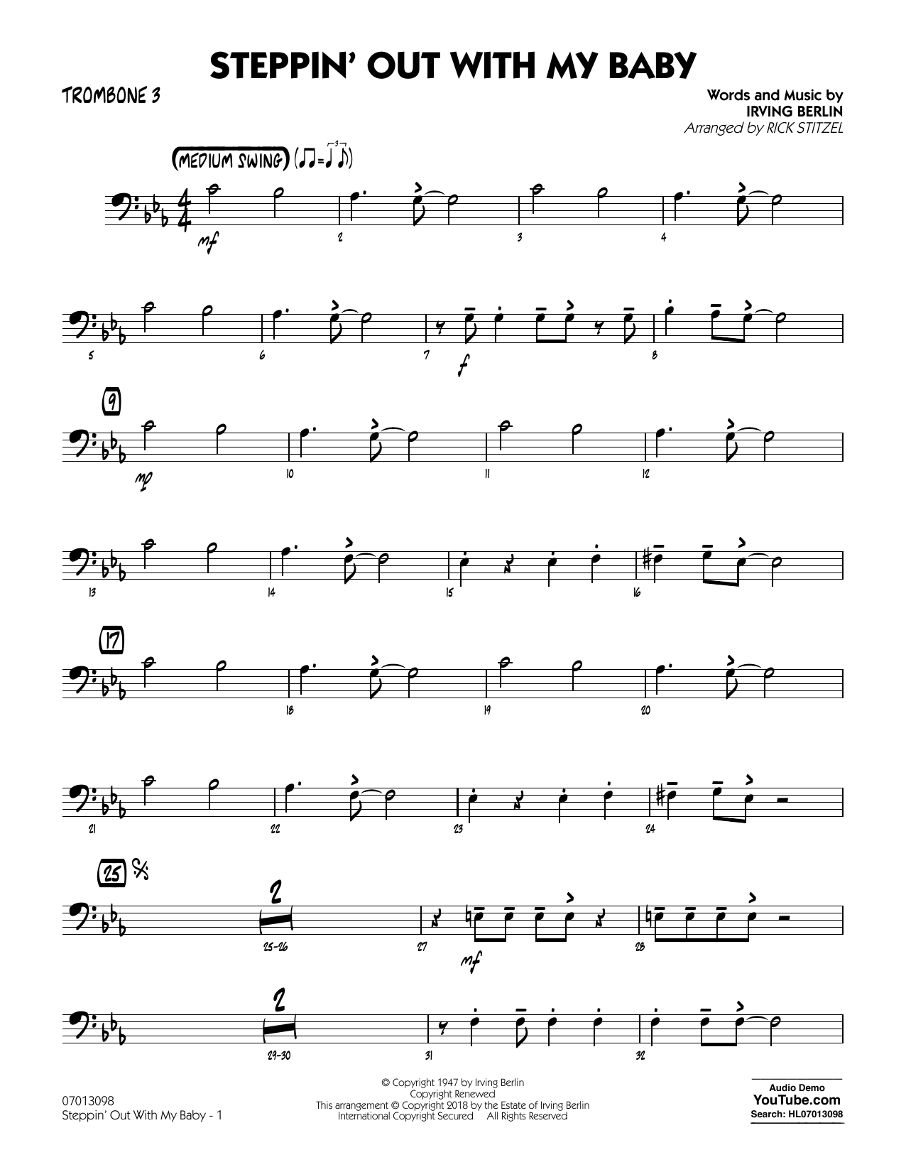 Rick Stitzel Steppin' Out with My Baby - Trombone 3 sheet music notes printable PDF score
