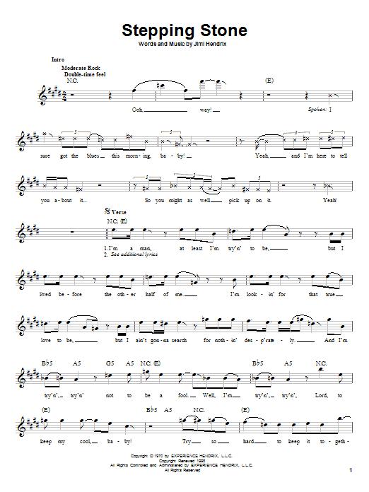 Jimi Hendrix Stepping Stone sheet music notes printable PDF score