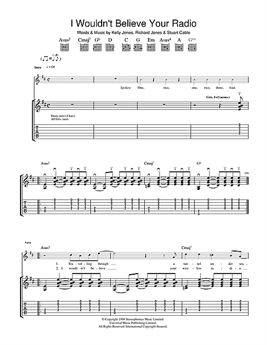 Stereophonics I Wouldn't Believe Your Radio sheet music notes printable PDF score