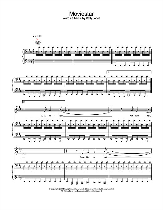 Stereophonics Moviestar sheet music notes and chords. Download Printable PDF.