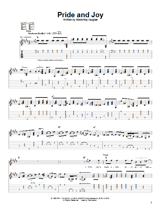 Stevie Ray Vaughan Pride And Joy sheet music notes and chords. Download Printable PDF.