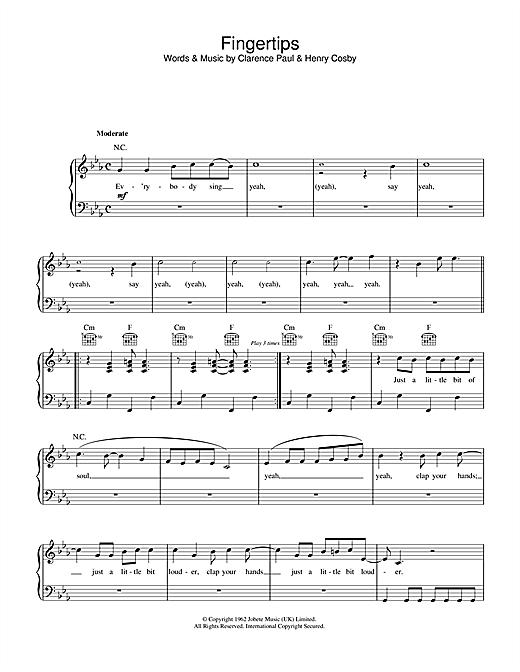 Stevie Wonder Fingertips sheet music notes printable PDF score