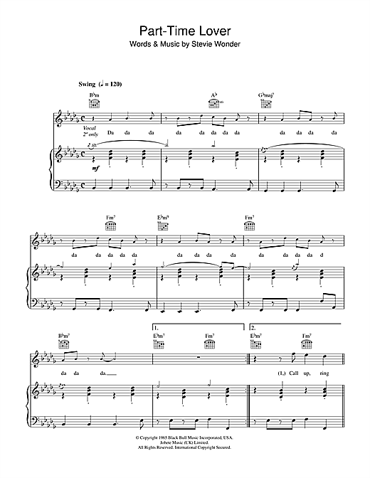 Stevie Wonder Part-Time Lover sheet music notes printable PDF score