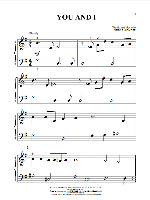 Stevie Wonder You And I sheet music notes and chords. Download Printable PDF.