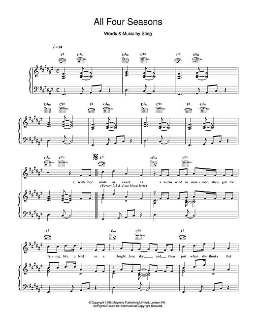 Sting All Four Seasons sheet music notes printable PDF score