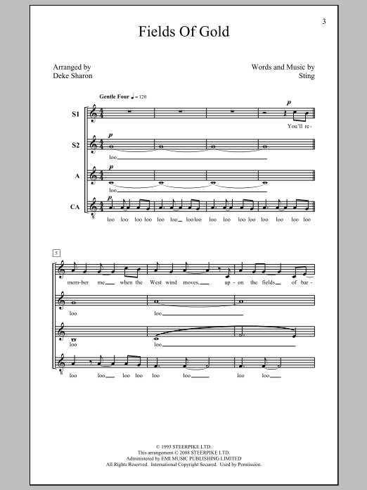 Sting Fields Of Gold (arr. Deke Sharon) sheet music notes and chords. Download Printable PDF.