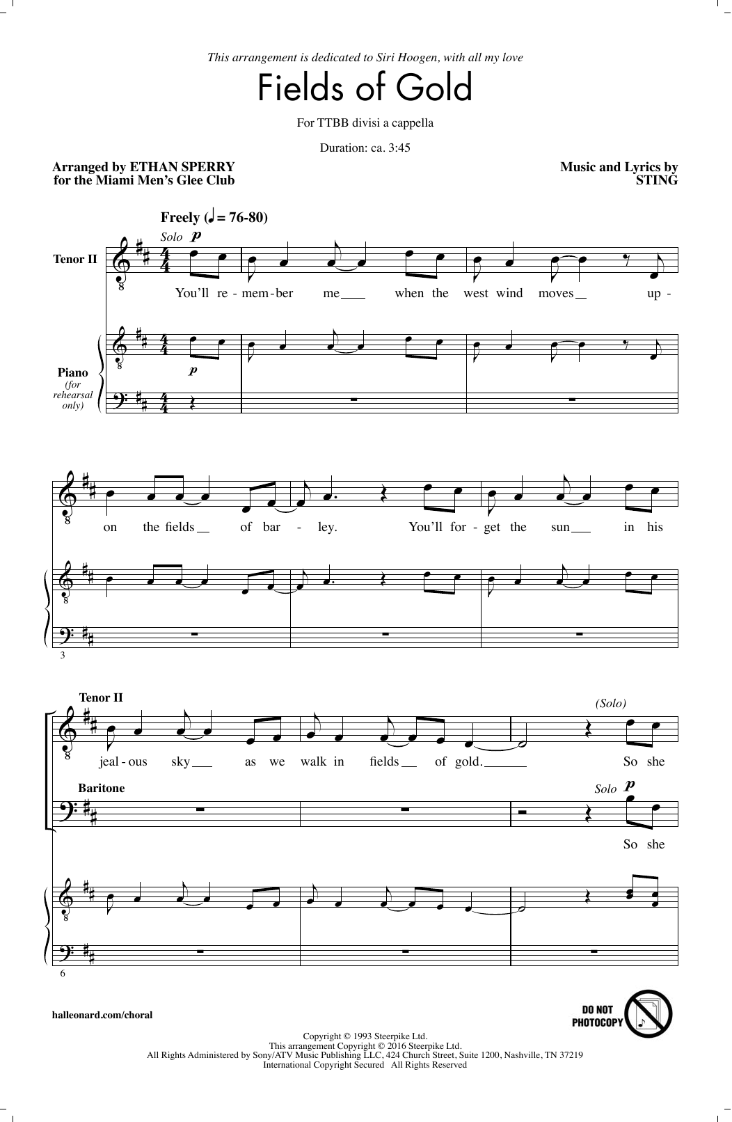 Sting Fields Of Gold (arr. Ethan Sperry) sheet music notes and chords - download printable PDF.