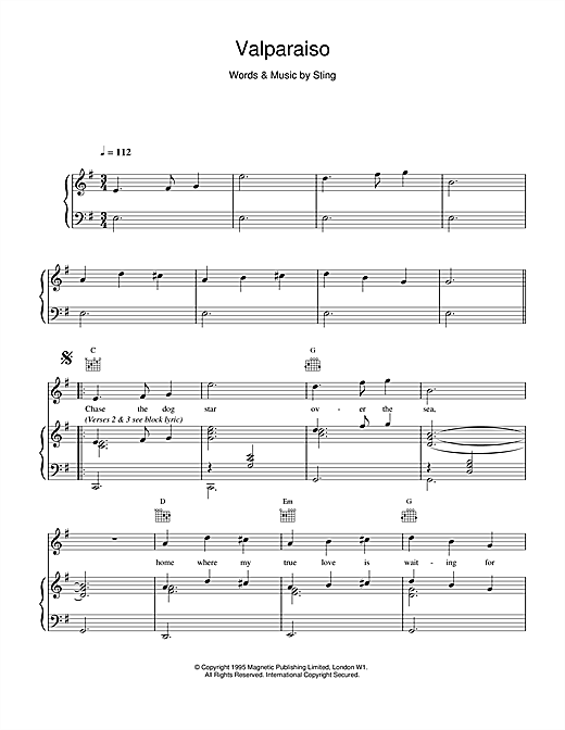 Sting Valparaiso sheet music notes printable PDF score