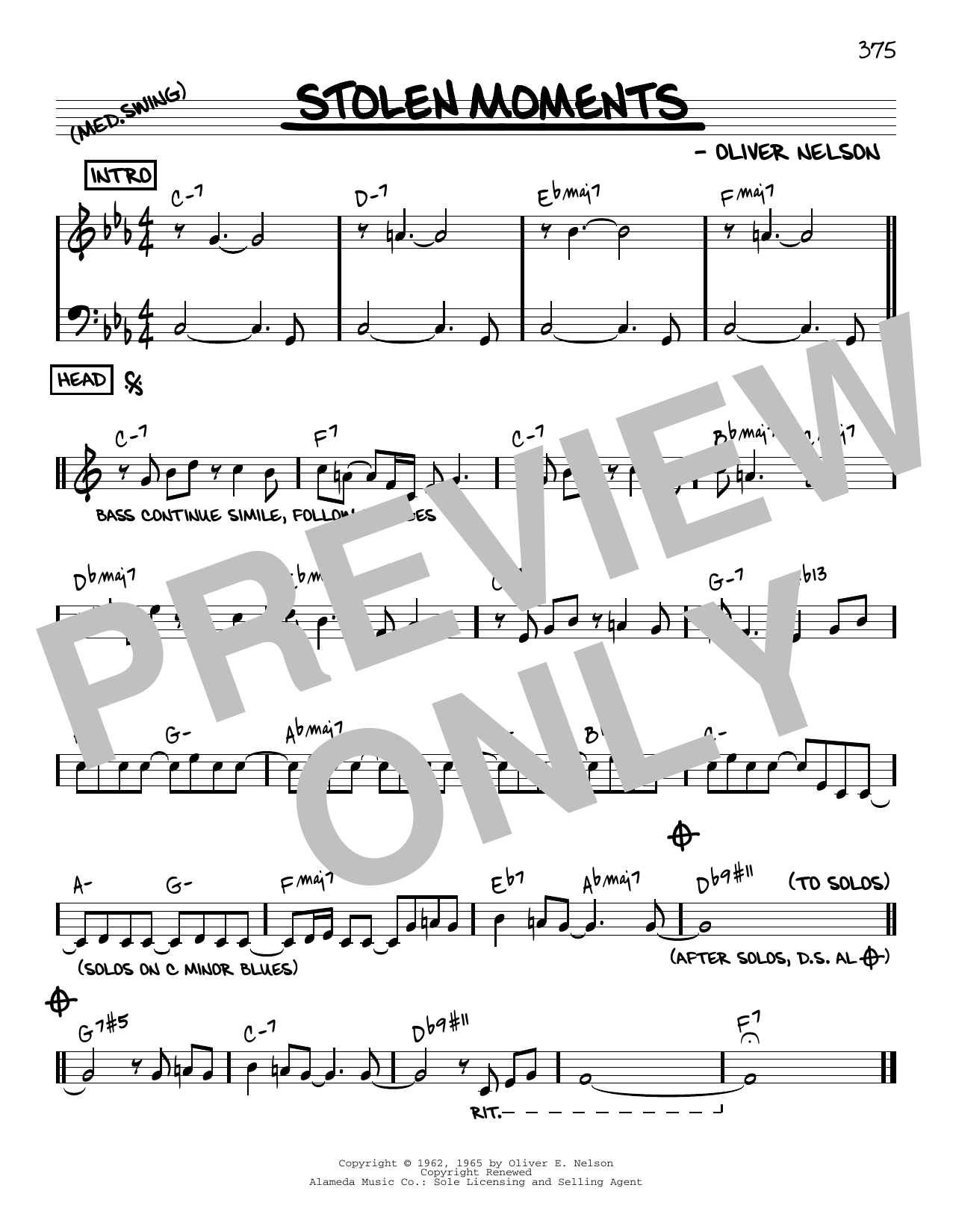 Oliver Nelson Stolen Moments [Reharmonized version] (arr. Jack Grassel) sheet music notes printable PDF score