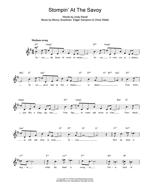 Benny Goodman Stompin At The Savoy sheet music notes printable PDF score