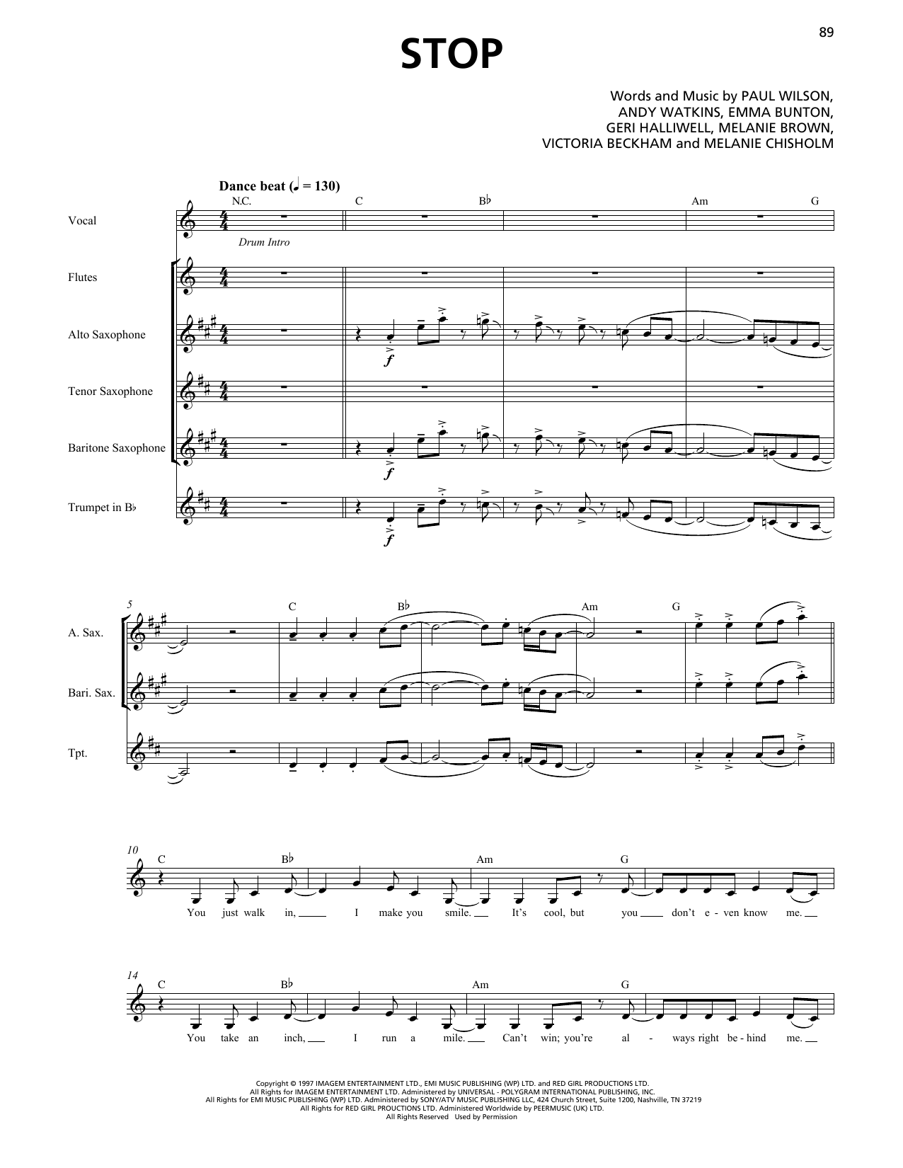 Spice Girls Stop (Horn Section) sheet music notes printable PDF score