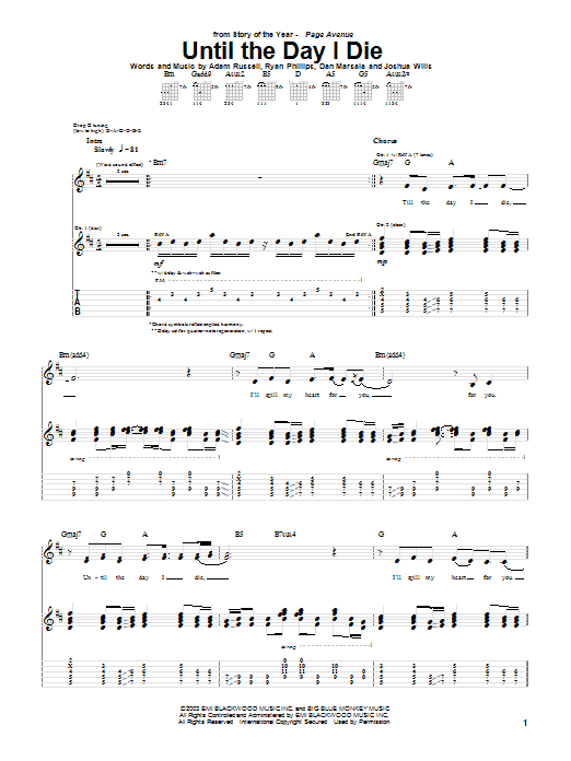 Story Of The Year Until The Day I Die sheet music notes and chords. Download Printable PDF.