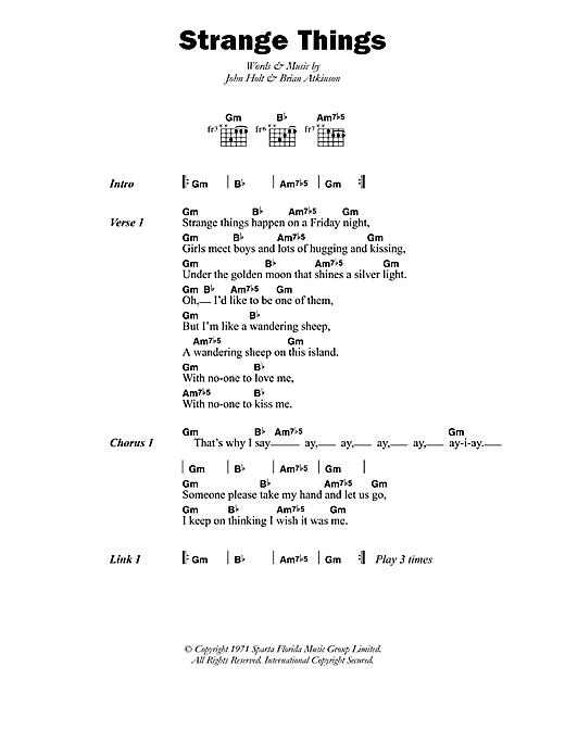 John Holt Strange Things sheet music notes printable PDF score