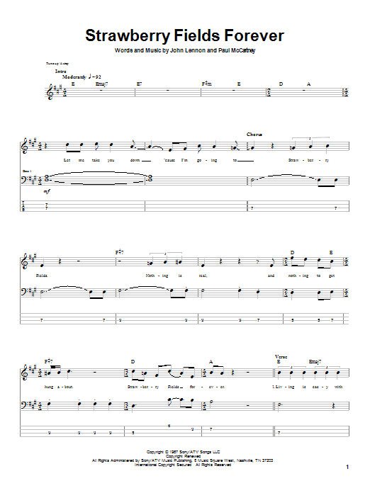 The Beatles Strawberry Fields Forever sheet music notes printable PDF score