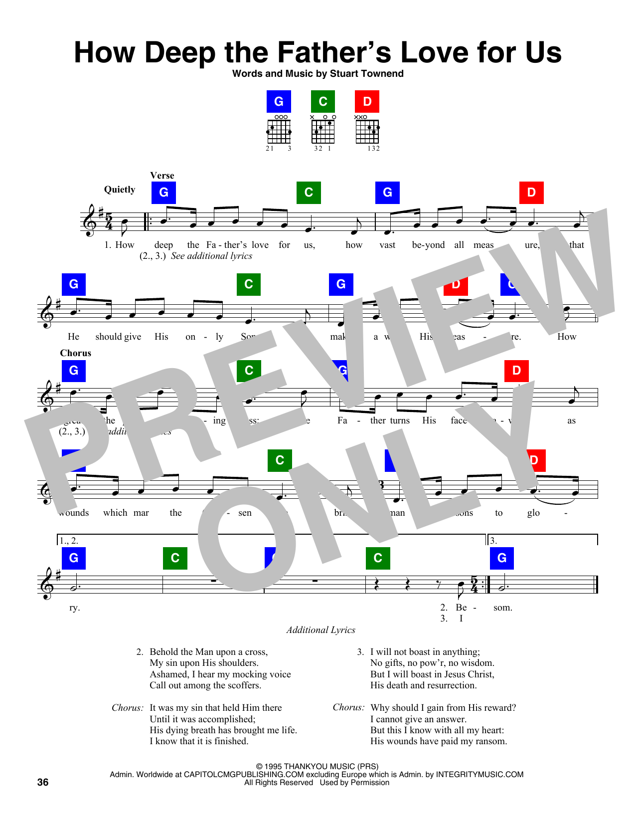 Stuart Townend How Deep The Father's Love For Us sheet music notes and chords. Download Printable PDF.