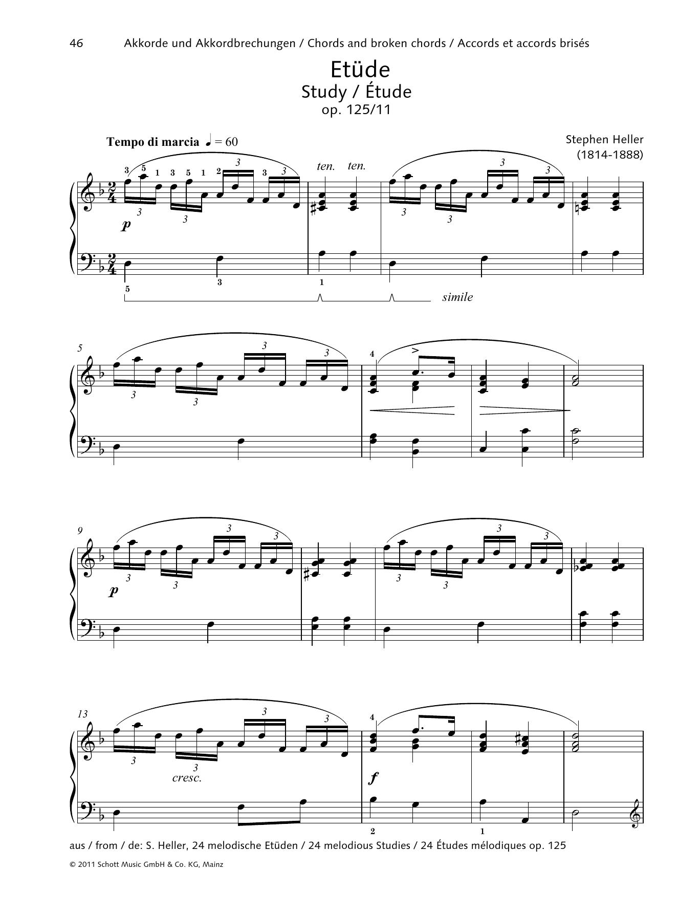 Stephen Heller Study sheet music notes printable PDF score