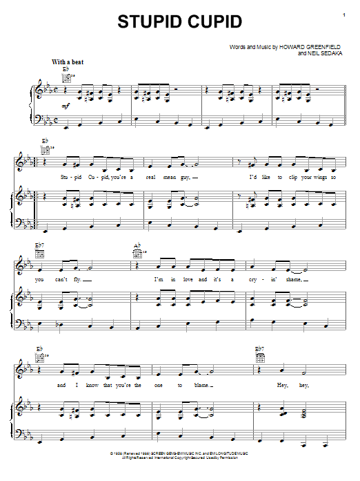 Connie Francis Stupid Cupid sheet music notes printable PDF score