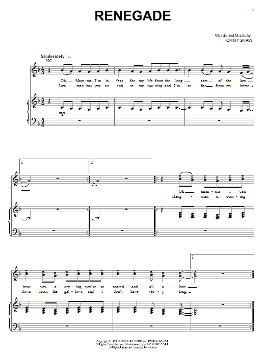 Styx Renegade sheet music notes and chords. Download Printable PDF.