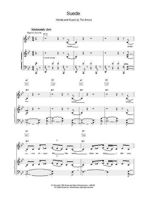 Tori Amos Suede sheet music notes printable PDF score