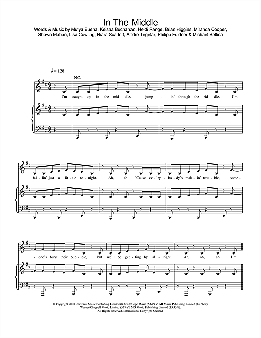 Sugababes In The Middle sheet music notes printable PDF score