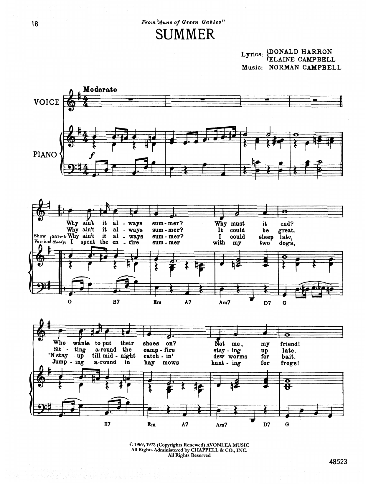 Norman Campbell Summer (from Anne Of Green Gables) sheet music notes printable PDF score